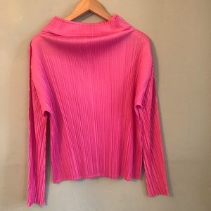 Issey Miyake  Pleats Please funnel neck blouse